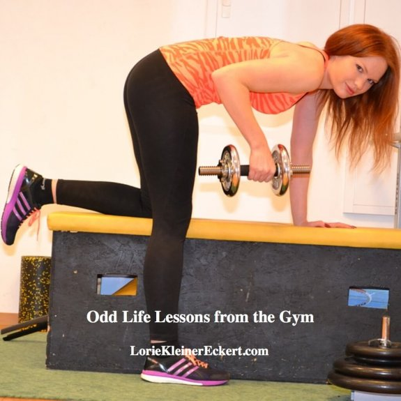 A woman working out is shown with the words: Odd Life Lessons from the Gym